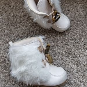 Gymboree Faux Fur White Booties